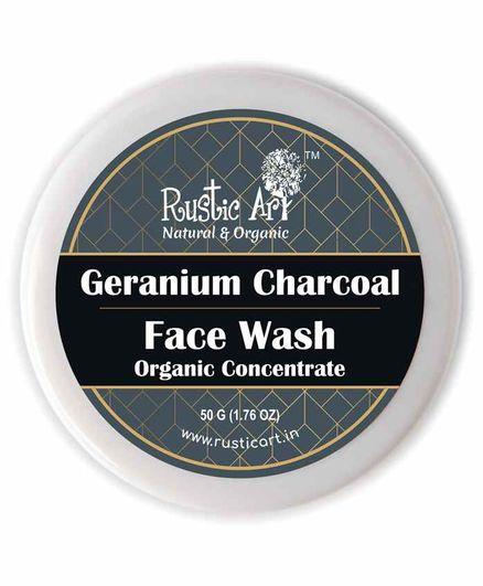 Rustic Art Organic Geranium Charcoal Face Wash Concentrate - 50 grams