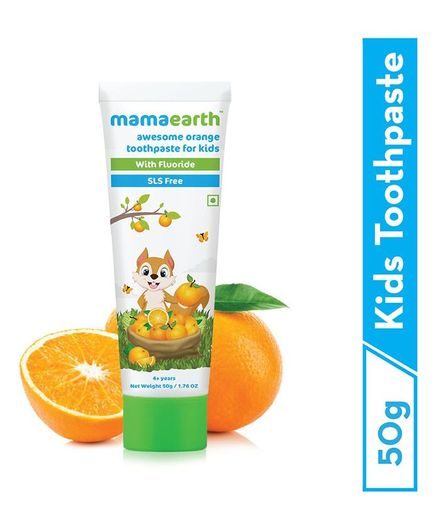 mamaearth Natural Toothpaste Orange Flavour - 50 grams