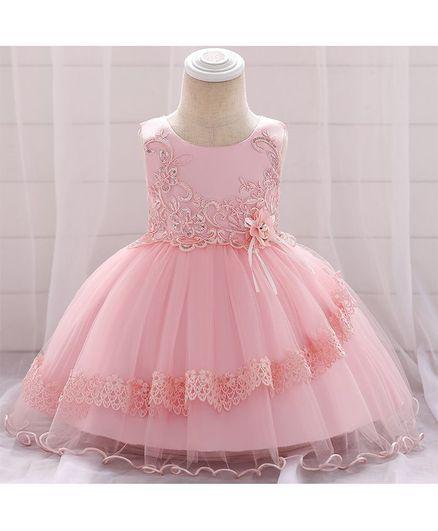 Pre Order - Awabox Sleeveless Floral Lace Work Dress - Pink