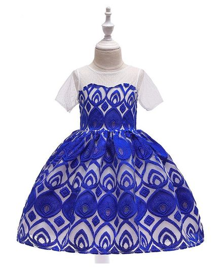 Pre Order - Awabox Half Sleeves Embroidered Ball Gown Flare Dress - Blue