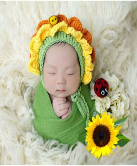 Babymoon Crochet Bonnet Baby Cap And Wrap Photography Props Sunflower Design - Yellow Green