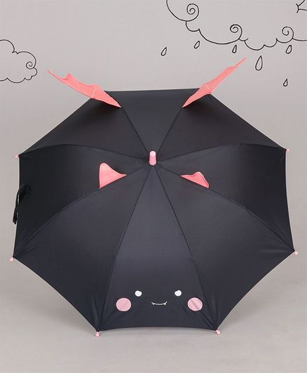 Unicorns Print 3D Wings Umbrella - Black