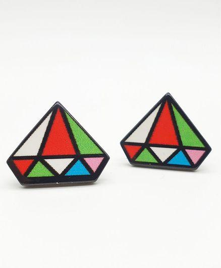 Viaana Daimond Dual Shaded Earring - Multicolor