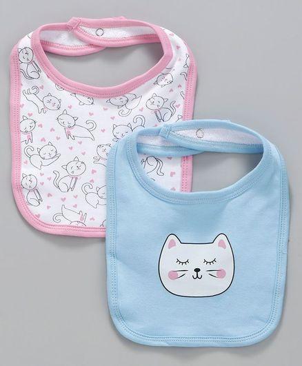 Babyoye Cotton Bibs Cat Print Pack of 2 - Pink Blue