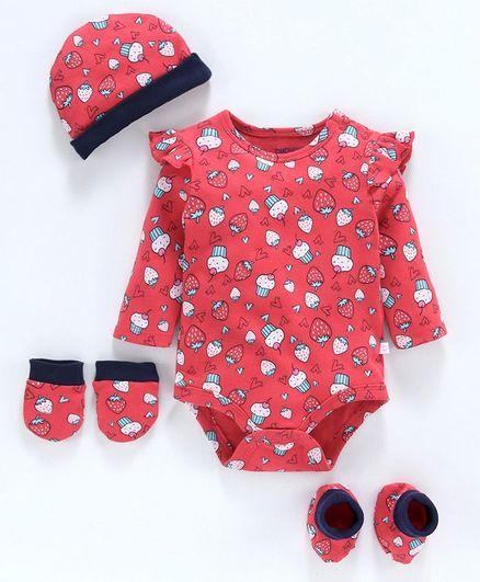 Babyoye Cotton Clothing Gift Set of 4 - Red