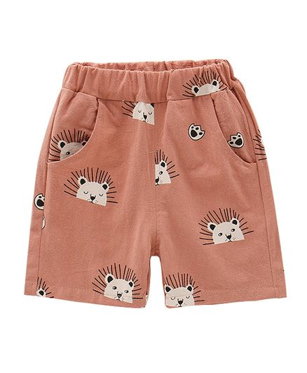 Pre Order - Awabox Lion Printed Shorts - Brown