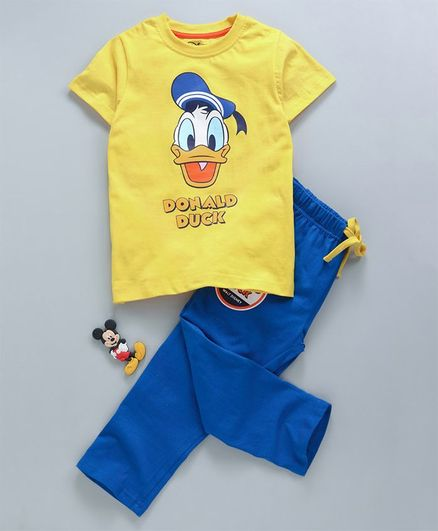 Tambourine Donald Duck Print Half Sleeves Night Suit - Yellow & Blue