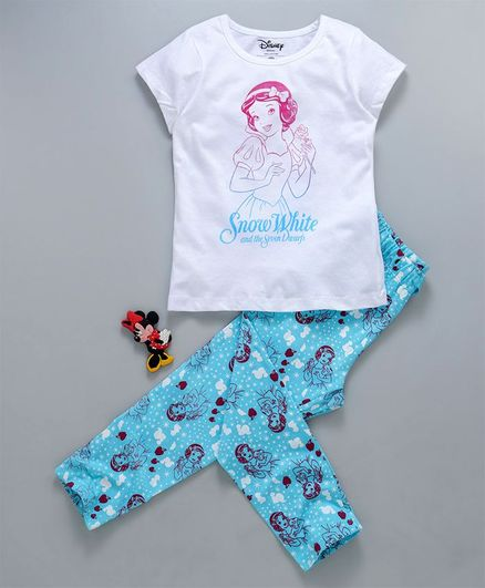 Tambourine Disney Snow White Print Half Sleeves Night Suit - White