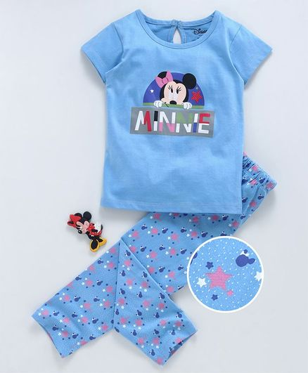 Tambourine Short Sleeves Minnie Mouse & Star Print Night Suit - Blue