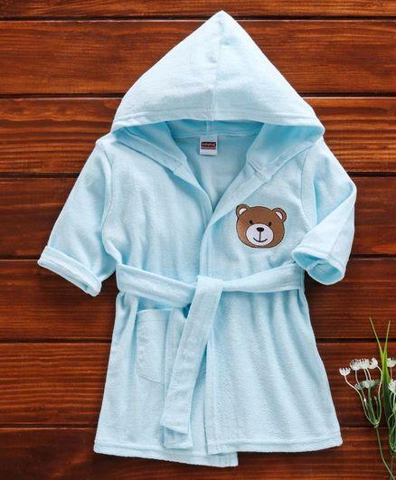 Babyhug Full Sleeves Hooded Applique Bath Robe - Aqua