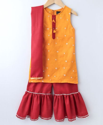 Kapaasa Sleeveless Bandhani Kurta With Sharara & Dupatta - Yellow