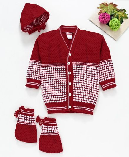 Babyhug Full Sleeves Sweater With Cap & Booties Checked - Red