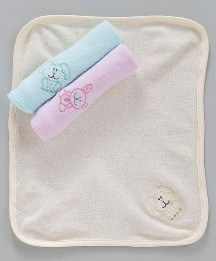 Simply Face Napkins Set of 3 - Cream Pink Blue