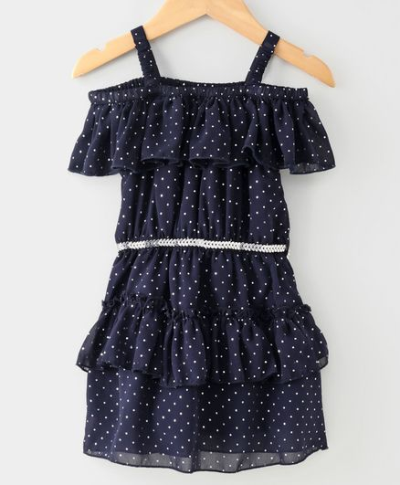 612 League Dots Embellished Half Sleeves Dress - Navy Blue