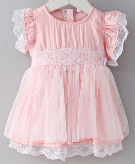 612 League Flower Embroidered Cap Sleeves Dress - Light Pink