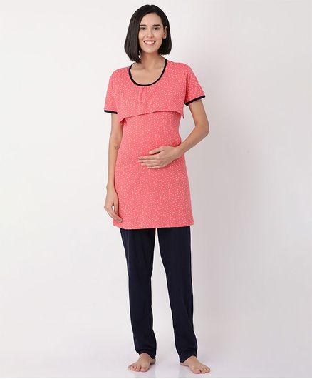 Goldstroms Ditsy Floral Printed Half Sleeves Maternity Night Suit - Peach