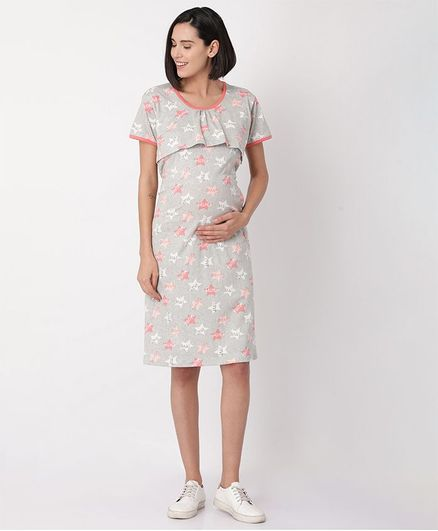 Goldstroms Star & Text Printed Half Sleeves Maternity Night Dress - Grey