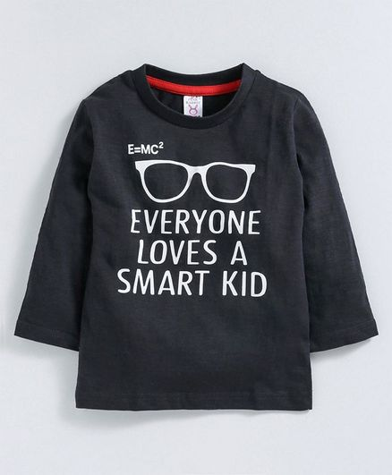 Pink Rabbit Full Sleeves Single Jersey Tee Smart Kid Print - Black