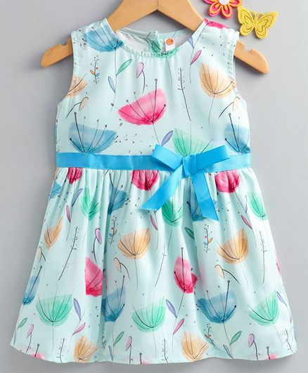 Dew Drops Sleeveless Floral Printed Crepe Frock - Light Blue