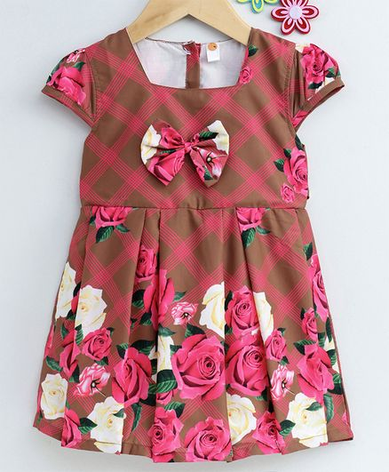 Dew Drops Cap Sleeves Frock Rose Print - Brown Pink