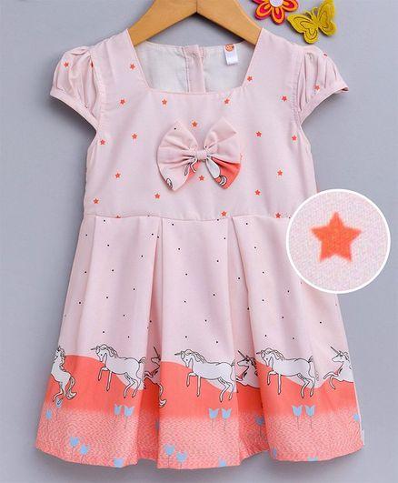 Dew Drops Cap Sleeves Frock Unicorn Print - Orange