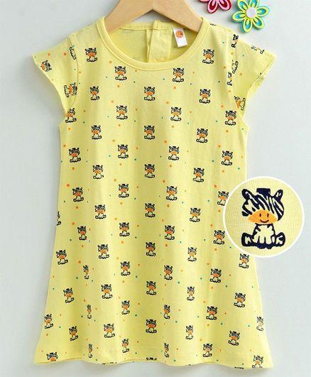 Dew Drops Cap Sleeves Sinker Fabric Frock Zebra Print - Yellow