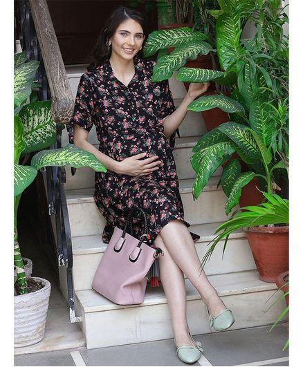 Mine4Nine Floral Printed Half Sleeves Maternity Dress - Black