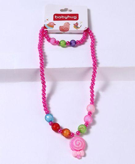 Babyhug Bracelet And Necklace Floral Motif - Pink