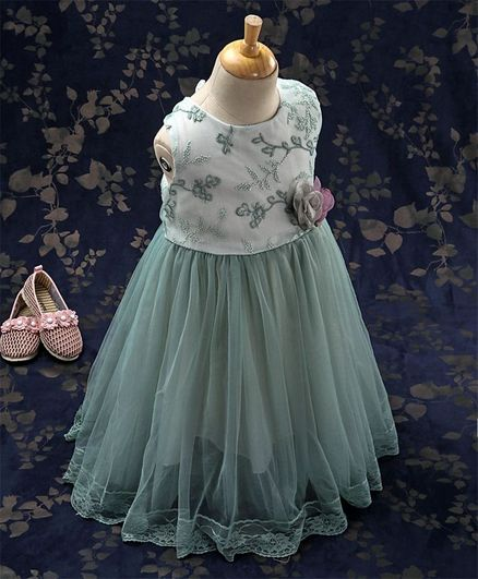 Kookie Kids Sleeveless Party Wear Frock With Embroidered Bodice - Moss Green