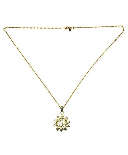 Angel Glitter Om Pendant Necklace - Golden