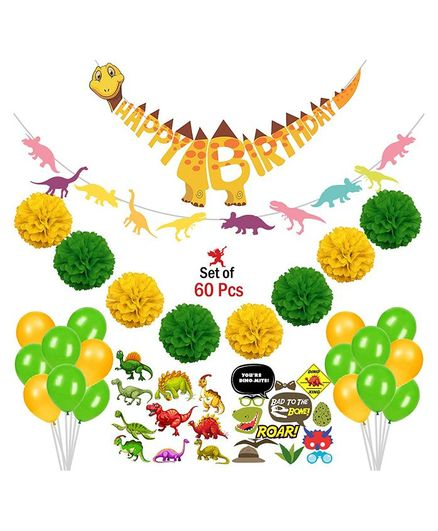 Party Propz Dinosaur Theme Birthday Party Decoration Combo - 60 Pieces