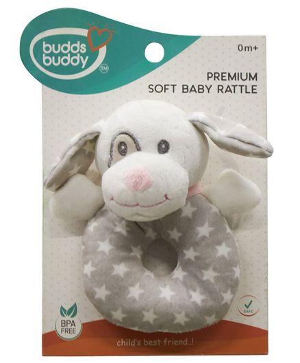 Buddsbuddy Dog Shaped Soft Baby Rattle - Pink