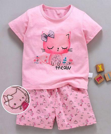 Kookie Kids Half Sleeves Night Suit Kitty Print - Pink