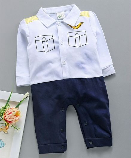 Kookie Kids Uniform Design Full Sleeves Romper - White Blue