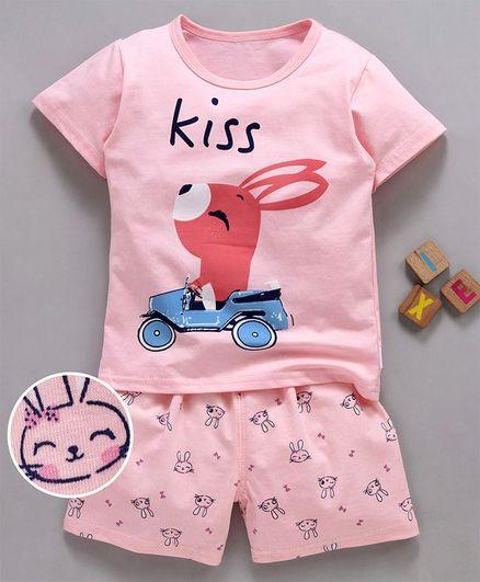 Kookie Kids Half Sleeves Night Suit Bunny Print - Light Pink