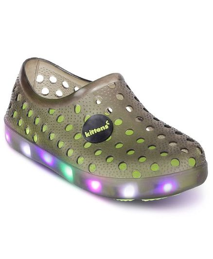 Kittens Shoes Hollow Up LED Clogs - Black & Green