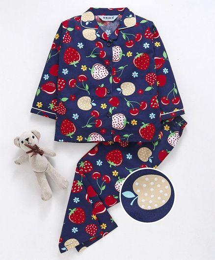 Enfance Core Fruits Print Full Sleeves Night Suit - Navy Blue