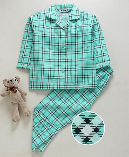 Enfance Core Checks Full Sleeves Night Suit - Green