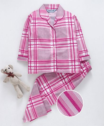 Enfance Core Checks Full Sleeves Night Suit - Pink