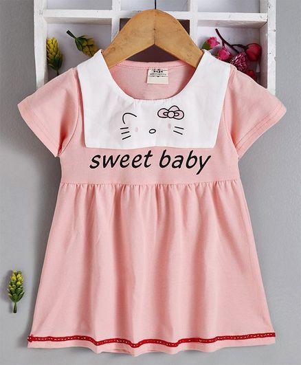 Kookie Kids Half Sleeves Frock Sweet Baby Print - Peach