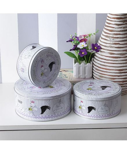 Round Cock A Doodle Doo Circular Storage Boxes Pack of 3 - Grey