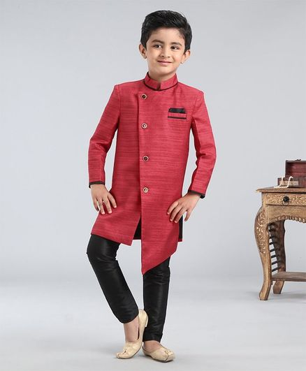 Babyhug Full Sleeves Asymmetric Style Solid Sherwani With Pocket Square - Red