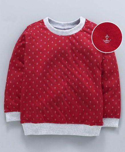 Zero Full Sleeves Winter-wear Tee Anchor Print - Red