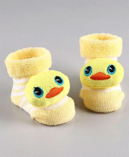 Cute Walk by Babyhug Ankle Length Sock Shoes Duck Motif - Yellow