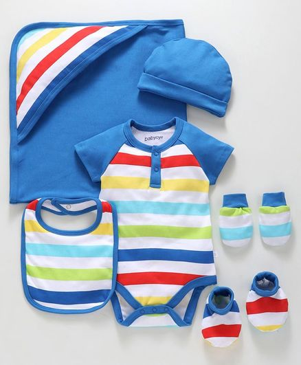 Babyoye Cotton Striped Clothing Gift Set - Blue