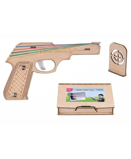RK Cart Semi-Automatic Wooden Rubber Band Shooting Gun With Target & Wooden Box - Brown