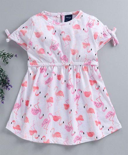 Mabaojd Half Sleeves Frock Flamingo Print - White Pink