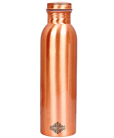 Indian Art Villa Copper Water Bottle Brown - 550 ml