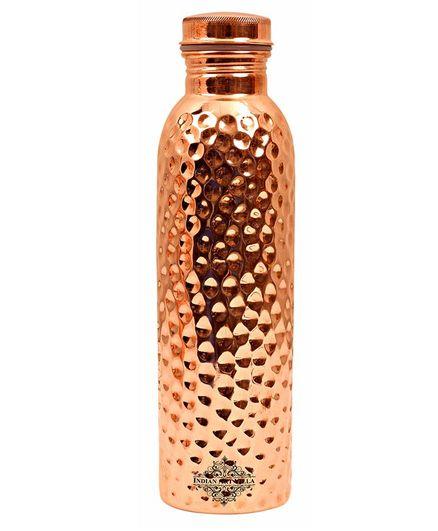 Indian Art Villa Hammered Copper Water Bottle Brown - 900 ml
