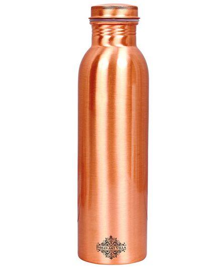 Indian Art Villa Matte Finish Copper Water Bottle Brown - 800 ml